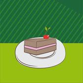 Delicious chocolate cake with cherries — Stock Vector