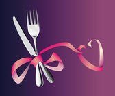 Fork and knife tied with a pink ribbon in honor of love — Stock Vector