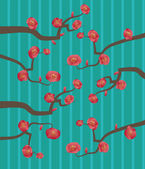 Branch with pink cherry flowers on a striped background — Vettoriale Stock