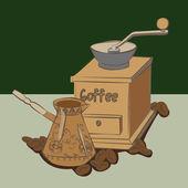 Ручной мясорубки в кофейных зерен возле aromanym Турку с кофе — Cтоковый вектор