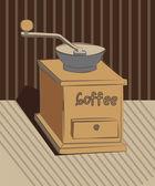 Yeni el ile kullanışlı öğütücü ile açık bir konteyner için kahve çekirdekleri — Stok Vektör