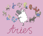 Collection of cartoon zodiac signs headed by Aries — Vetorial Stock
