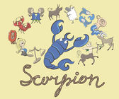 Collection of cartoon zodiac signs headed by Scorpion — Stockvektor