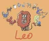 Sbírka kreslených znamení zvěrokruhu v čele lev — Stock vektor