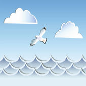 Decoration of the waves of clouds and seagulls — Stock Vector