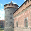 View of a tower of Sforza castle, Milan — Stock Photo