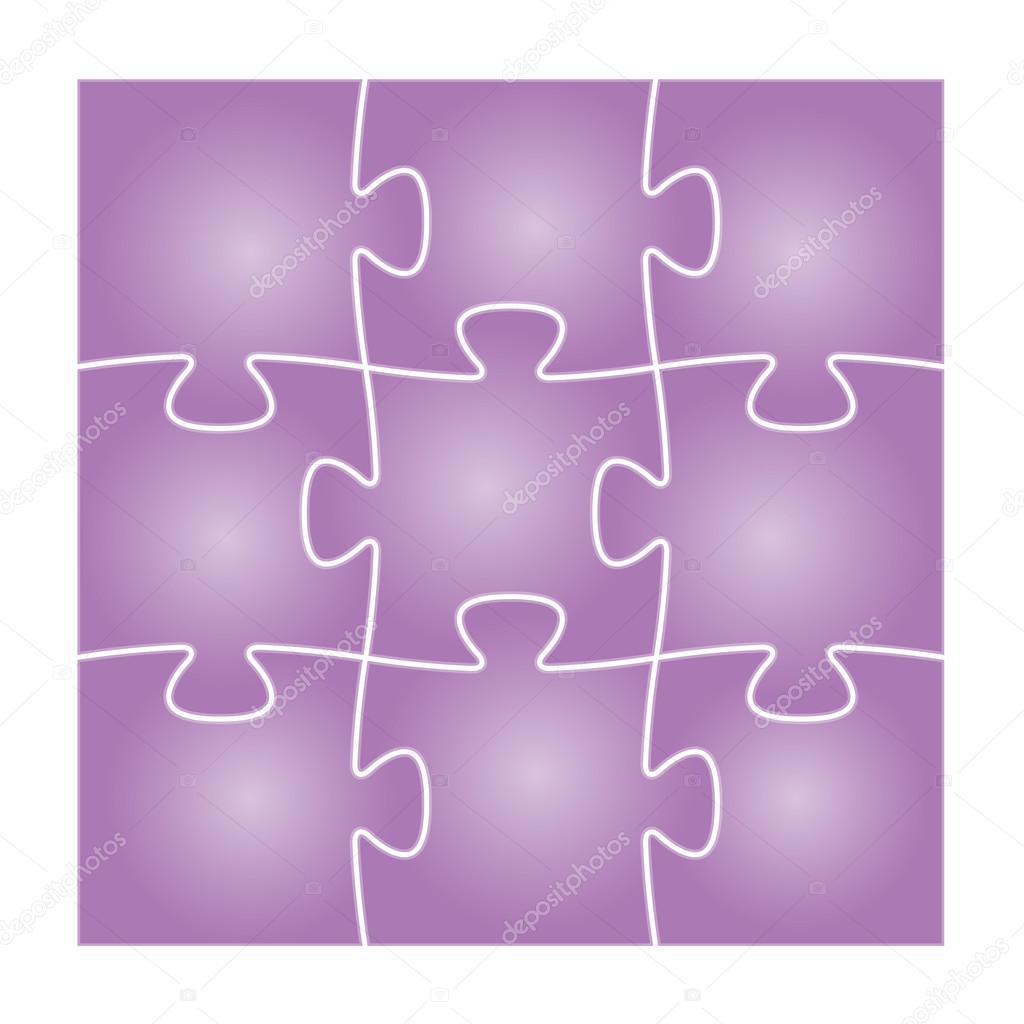 九紫孤立的拼图中的正方形组成一套