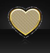 Het hart met diamanten — Stockvector