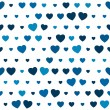 The blue heart seamless background — Imagens vectoriais em stock