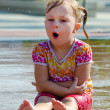 Wet child singing — Stock Photo