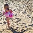 Little girl heading to the water — Stock Photo
