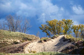 Steep dunes to climb at a Michigan state park — Stock Photo