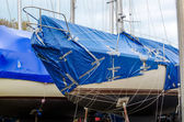 Boat patched together for winter storage — Foto Stock