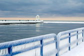 Icy landscape on Lake Michgian — Stock Photo