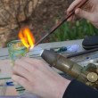 Artist Working with fire and glass — Stock Photo