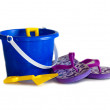 Blue pail and flip flops — Stock Photo
