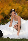 Relaxed and happy Bride and groom — Stock Photo