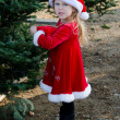 Stock Photo: Disgruntled girl in holiday red