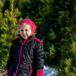 Pretty Little girl at Christmas tree farm — Stok fotoğraf