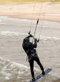 Kite boarder catches air — Stock Photo