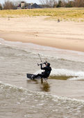 Kiteboarder show — Stock Photo