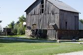 Amish buggy and barn — Stock Photo