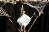 Fantasma e ragno nero nel web falso — Foto Stock