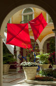Kites inside a hotel lobby — Stock Photo