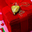 Romantic gift, heart on a chain with a red velvet box — Stock Photo #39466739