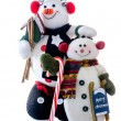 Snowman buddies on white background — Stock Photo