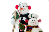 Close up of Snowman buddies on white background — Stock Photo