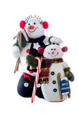 Snowman buddies on white background — Stock Photo