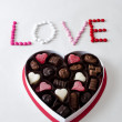 Stock Photo: Love and box of candy sweets
