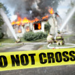 Stock Photo: Do not cross tape with firefighters and burning house