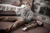 Happy soul leaving a corpse lying on the floor — Stock Photo