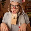 Man wearing a mouse costume got trapped — Stockfoto
