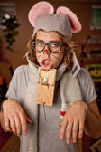 Man wearing a mouse costume got trapped — Stock Photo