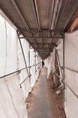 Scaffold at a construction area subway — Stock Photo