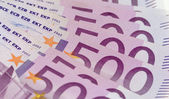 Stack of money with 500 euro banknotes — Stock Photo