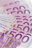 Vertical isometric stack of money with 500 euro banknotes — Stock Photo