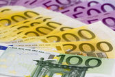 Macro stack of money with 100 200 and 500 euro banknotes — Stock Photo