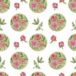 Seamless floral pattern with peonies — Stock Photo