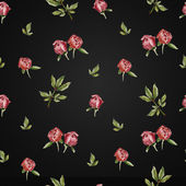 Seamless peony flower pattern on an dark background — Stock Photo
