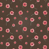 Seamless pattern poppy flower on brown background — Stock Photo