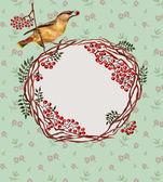 Background with bird, rowan — Stock Photo