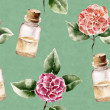 Seamless pattern with сamellia flower and perfume bottle — Stock Photo #47108983