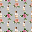 Seamless pattern with сamellia flower and perfume bottle — Stock Photo #47108995