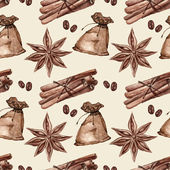 Seamless pattern with cinnamon, star anise, spices — Stock Photo