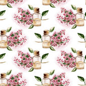Seamless pattern with the branch of flowers and perfume bottle — Stock Photo