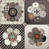 Flower quilting design — Vettoriale Stock